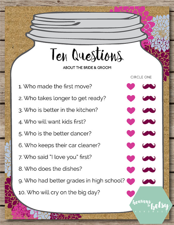 mason jar ten questions bridal shower wedding by htbhandmade