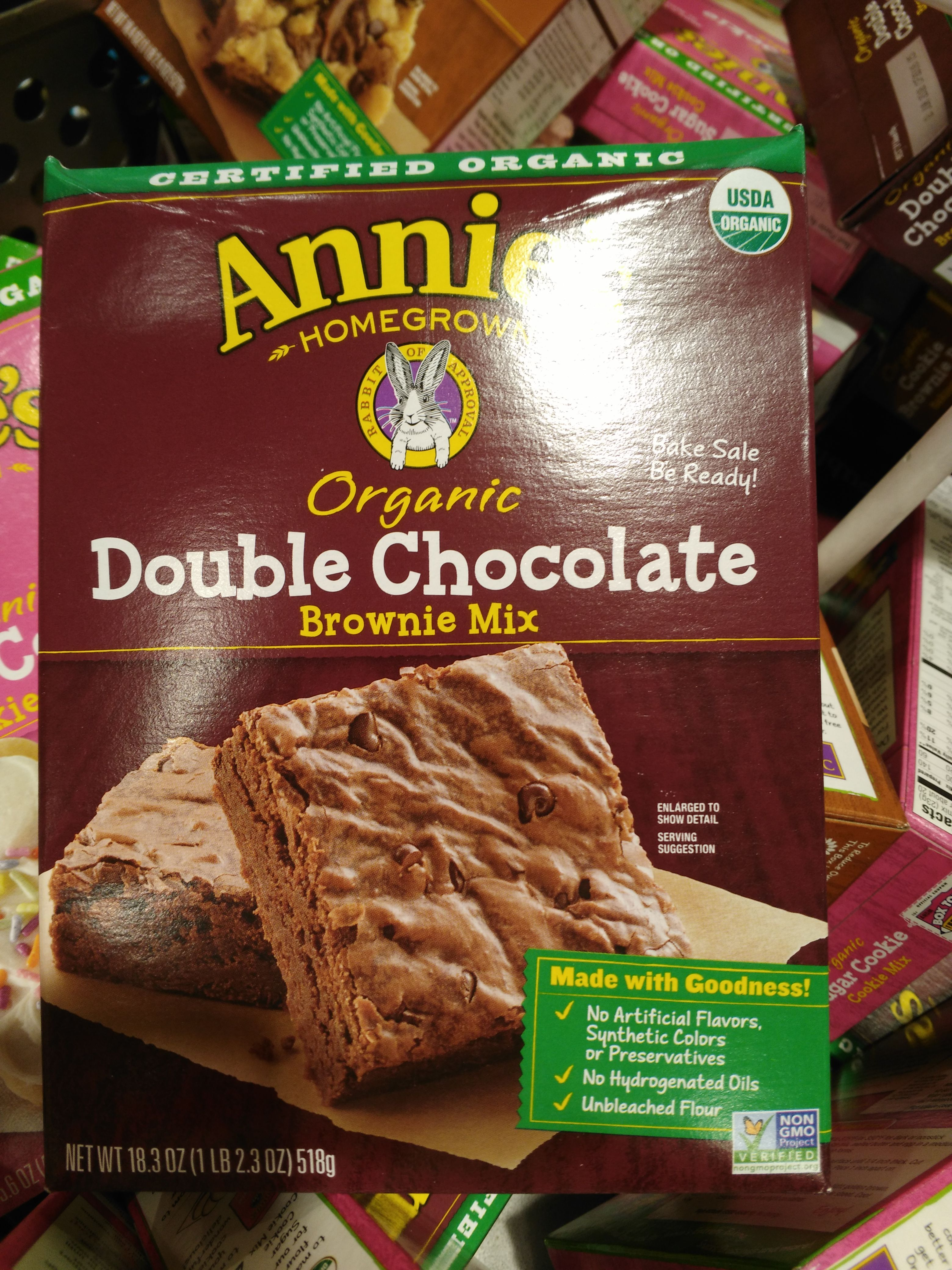 Annies organic double chocolate brownie mix baking