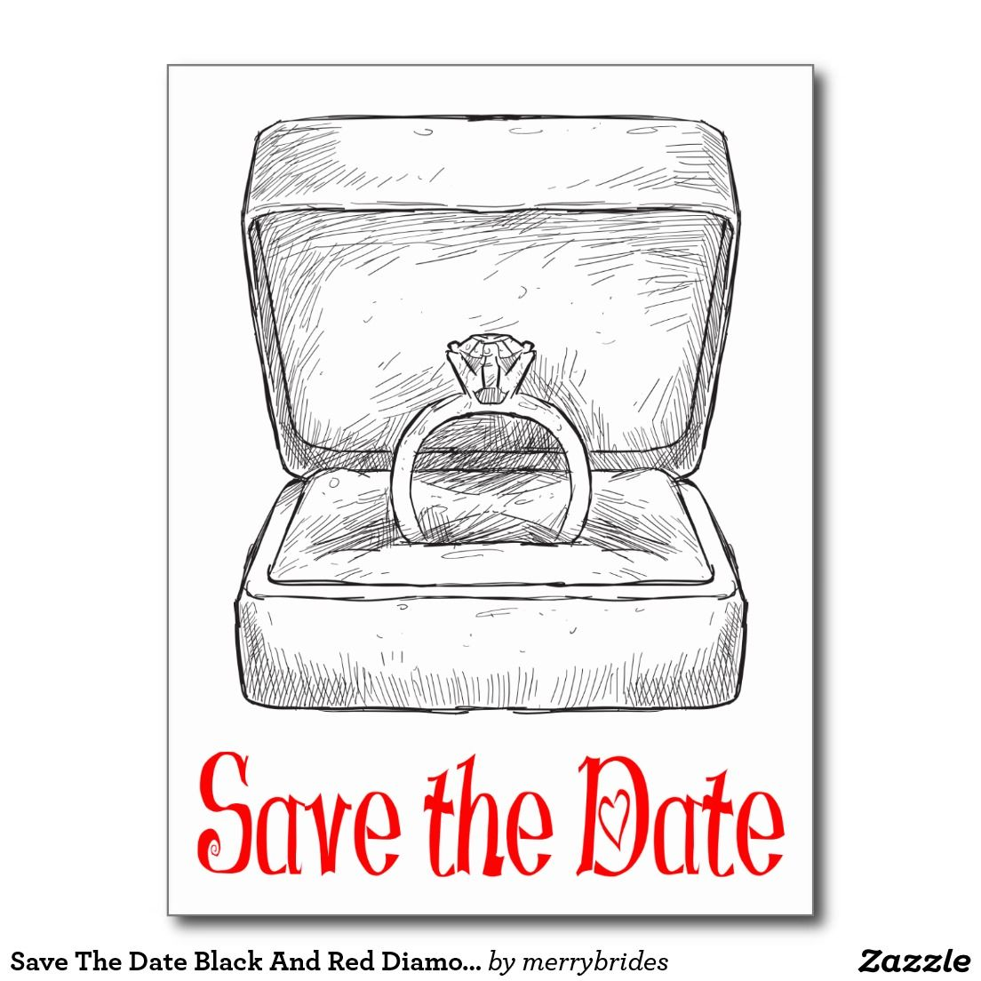 Save The Date Black And Red Diamond Wedding Ring Postcard