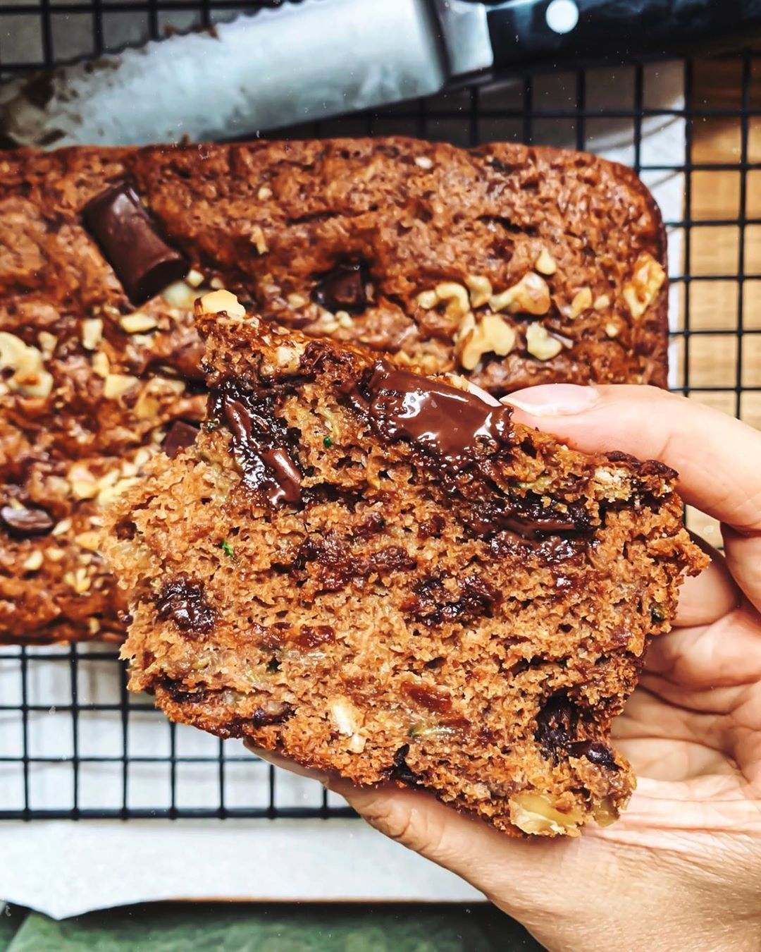 Laura Wright On Instagram Zucchini Bread Is A Vehicle For Chocolate And Walnuts Period Made A Dent In My Gigantic Zucc Delicious Vegan Recipes Walnuts Food