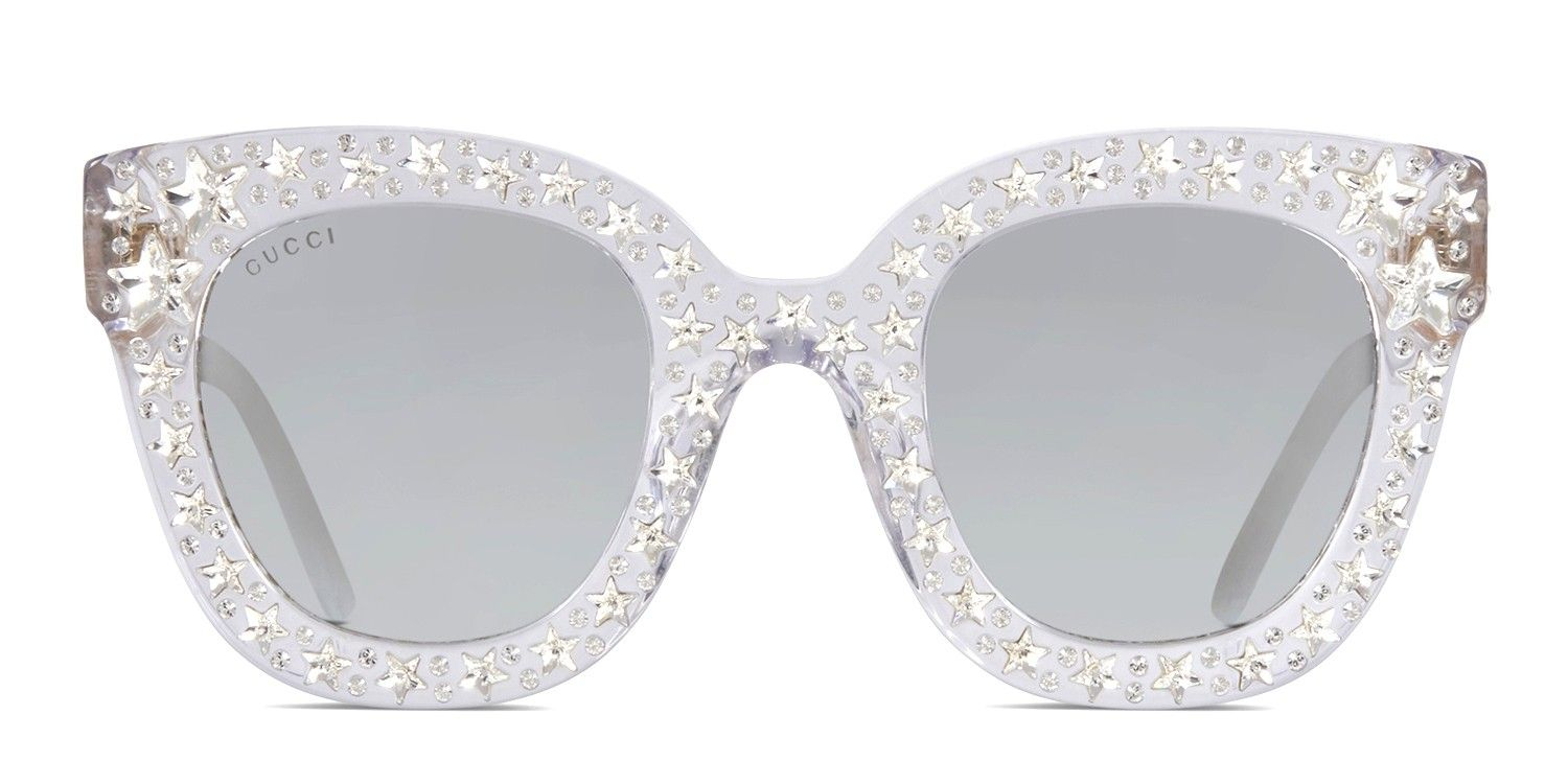 4b6aefad6 The Gucci GG0116 is a flashy cat-eye sunglasses pair that oozes luxury.  Crafted from premium acetate, its star-shaped crystal-embellishments, ...