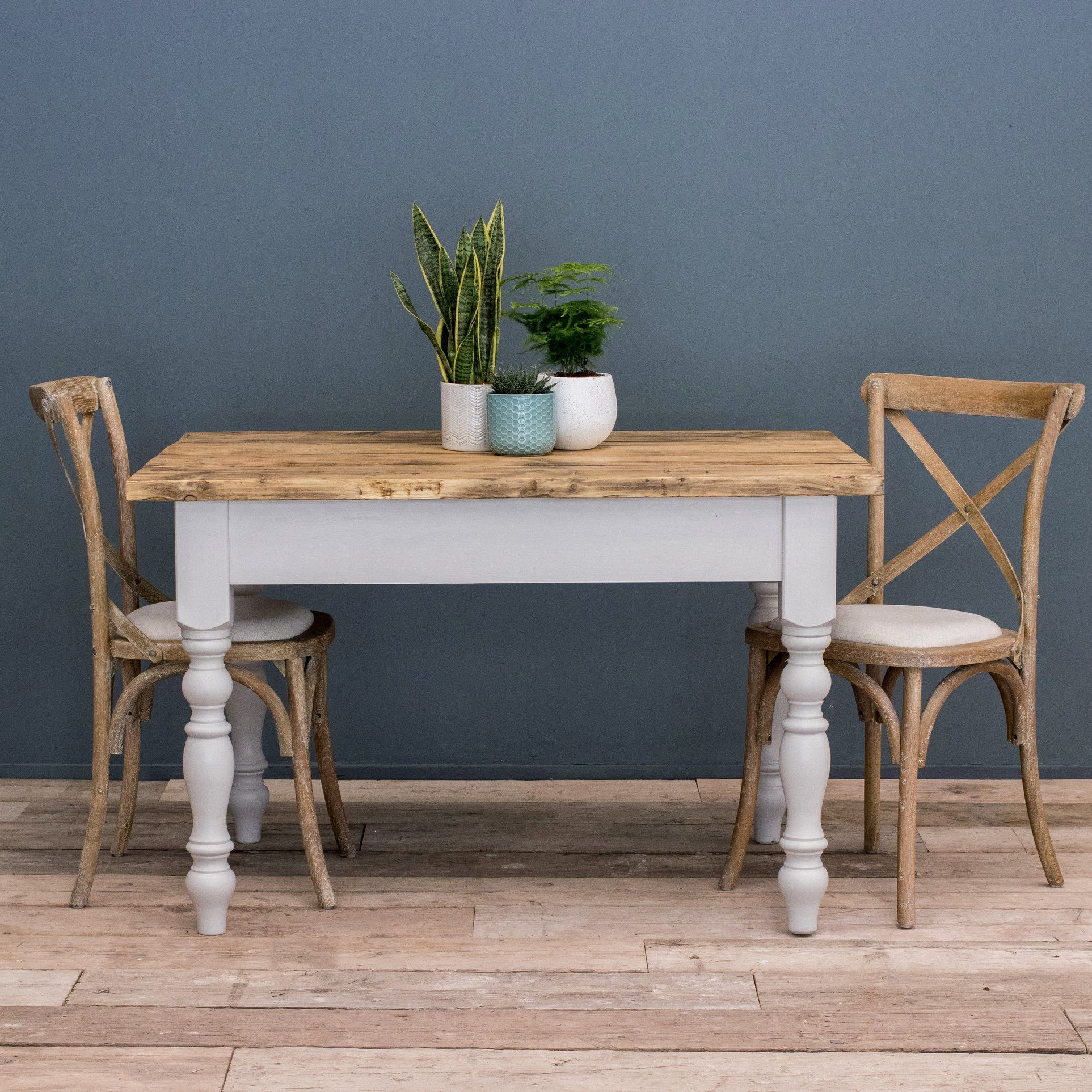 Farmhouse table with bistro chairs rustic reclaimed