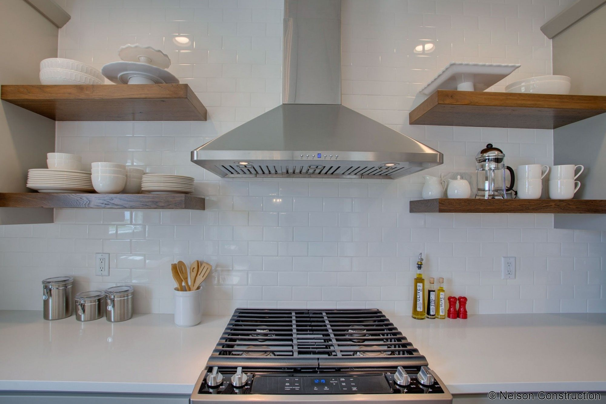 Image Result For Subway Tile To Ceiling Kitchen Floating Shelves