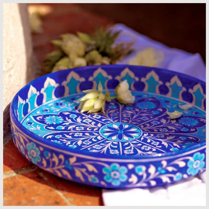 The East Coast Desi Ceramic Tableware Blue Pottery Serving Platters