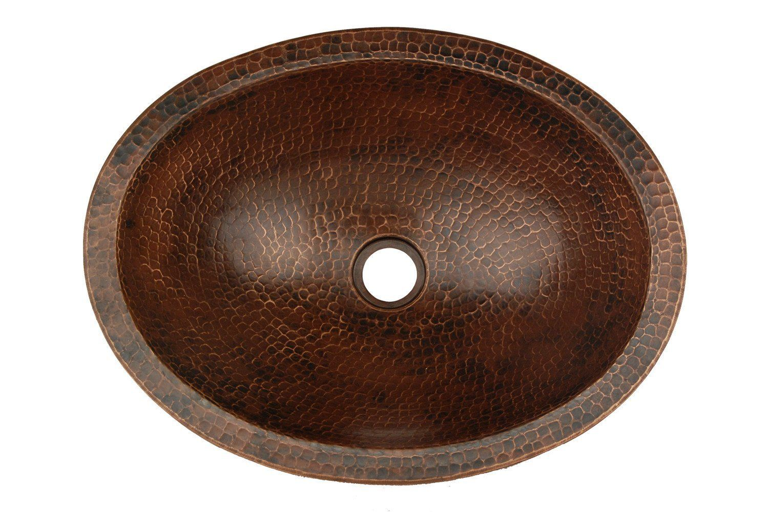 Compact Oval Skirted Vessel Hammered Copper Sink Bathroom Ideas