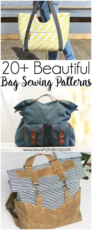 20+ Beautiful Tote and Bag Patterns to Sew   Taschen nähen, Taschen ...