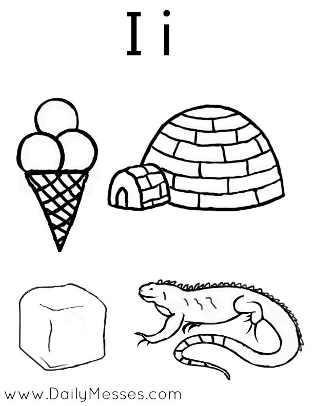 Daily Messes I Is For Igloo Ice And Iguana Coloring Pages For Kids Bug Coloring Pages Letter I Activities