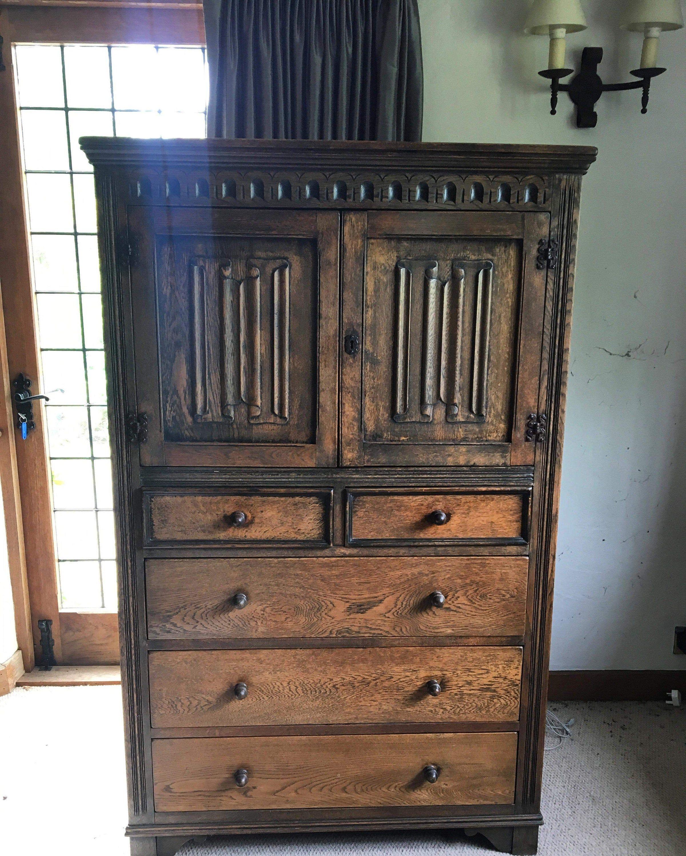 oak cupboard five drawers tudor furniture carved