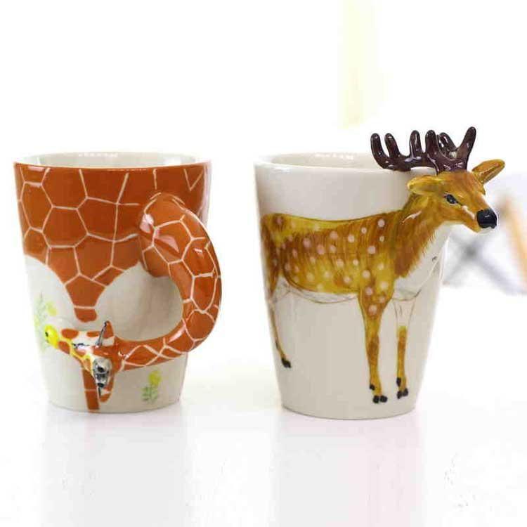 Creative 3D Hand-painted Ceramic Animal Mug Cute Coffee ...