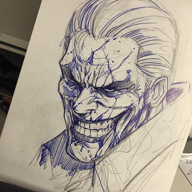 Joker Quick Pen Sketch By Vince Sunico Joker Batman Dcvillain