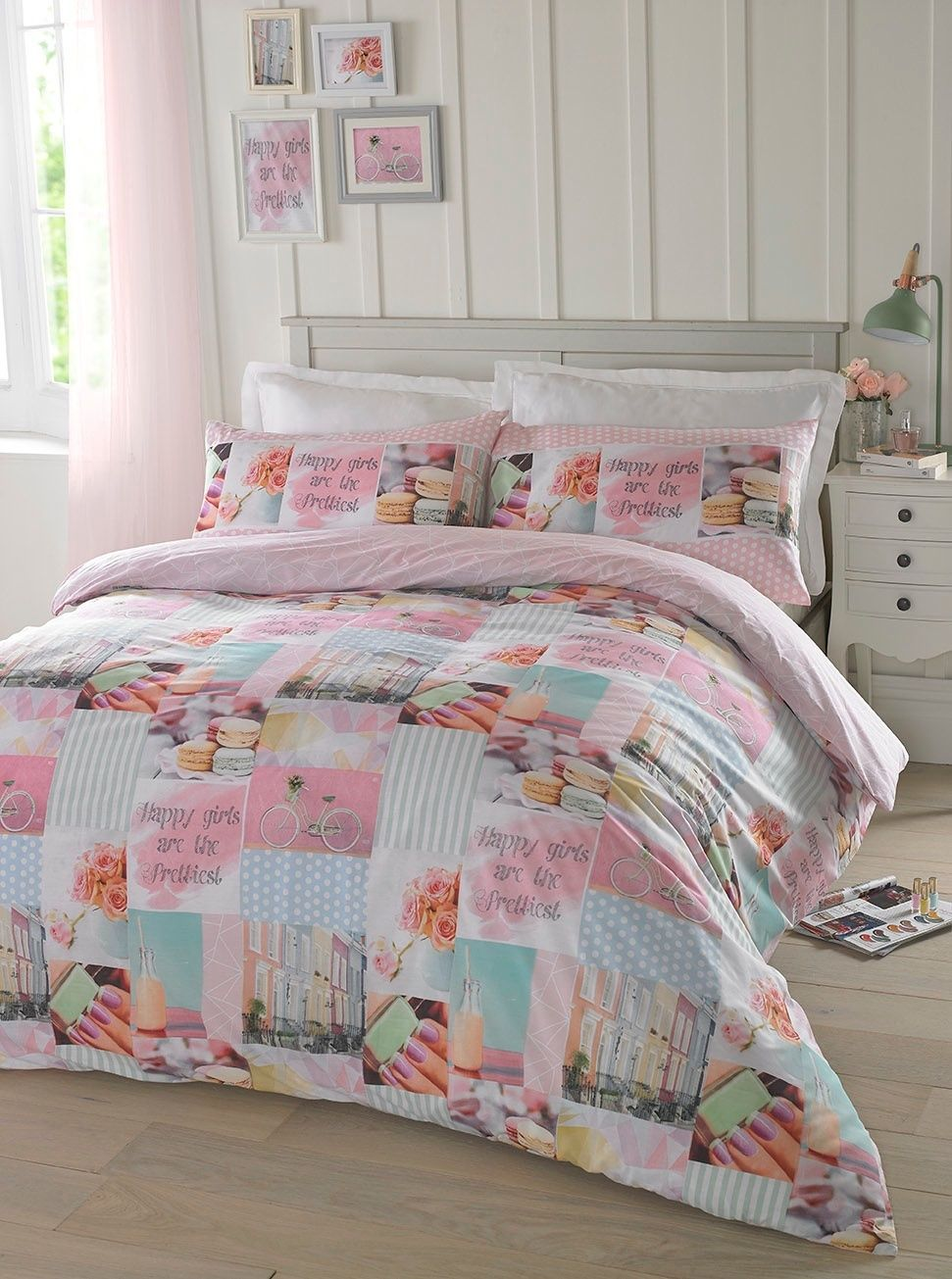 patch itm floral bed bedding patchwork girls cover duvet quilt butterfly pink lilac set white
