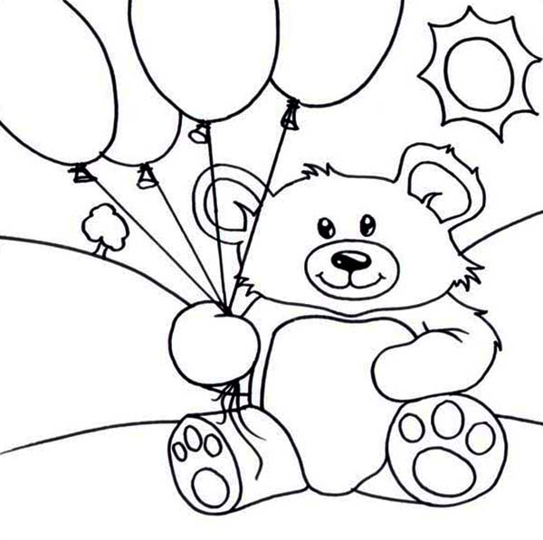 Teddy Bear And Balloons Coloring Page Color Luna Di 2020