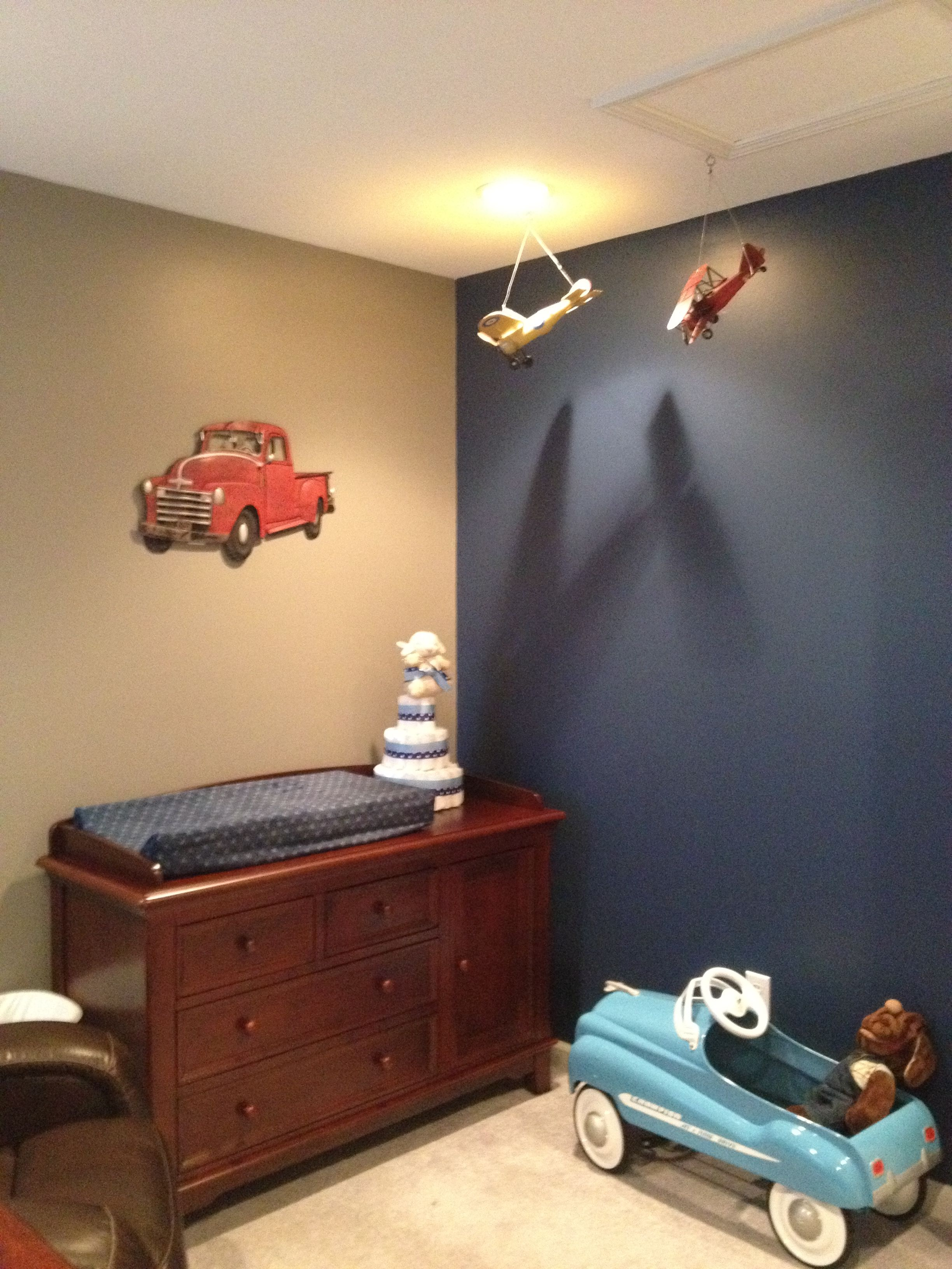 Planes, trucks, and automobiles! Little boy's room finally