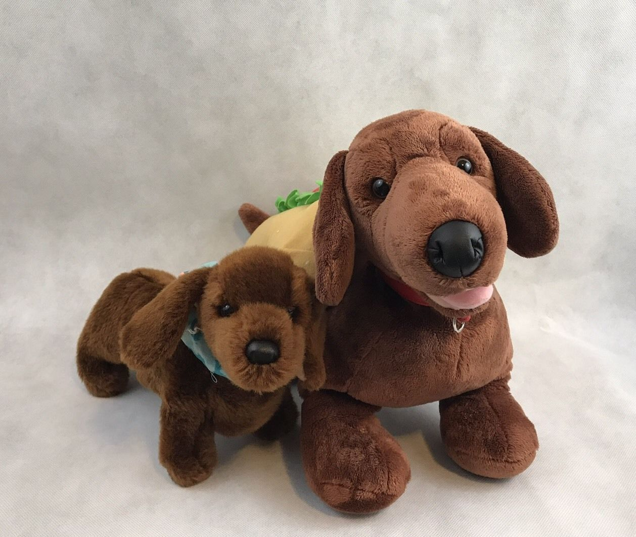 Lot Of 2 Dachshund Weenie Dogs Plush Stuffed Animals The Large