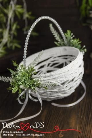 Greenery Wedding Flower Girl Basket | Illyria flower girl | Pinterest