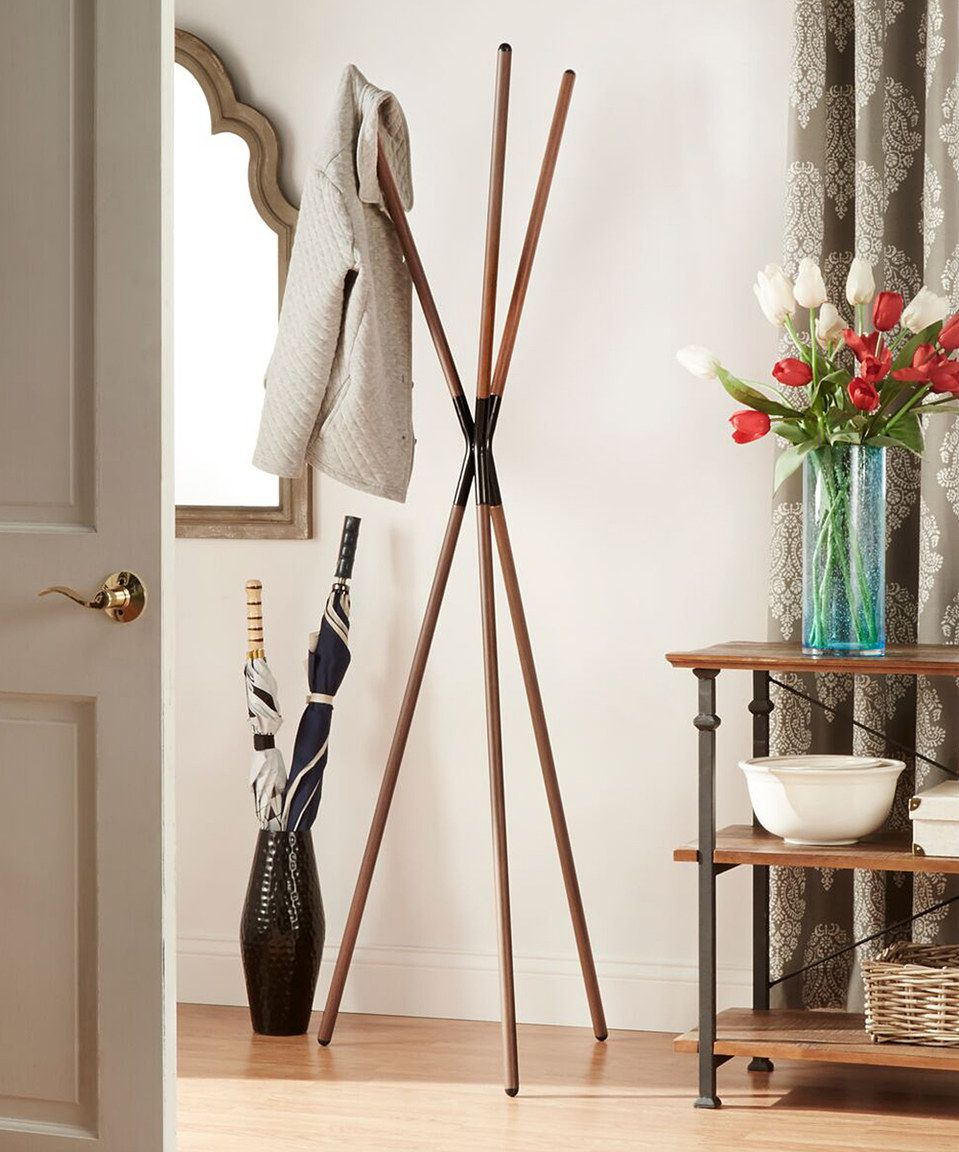 Oak Velia Tripod Coat Rack by HomeBelle #zulilyfinds