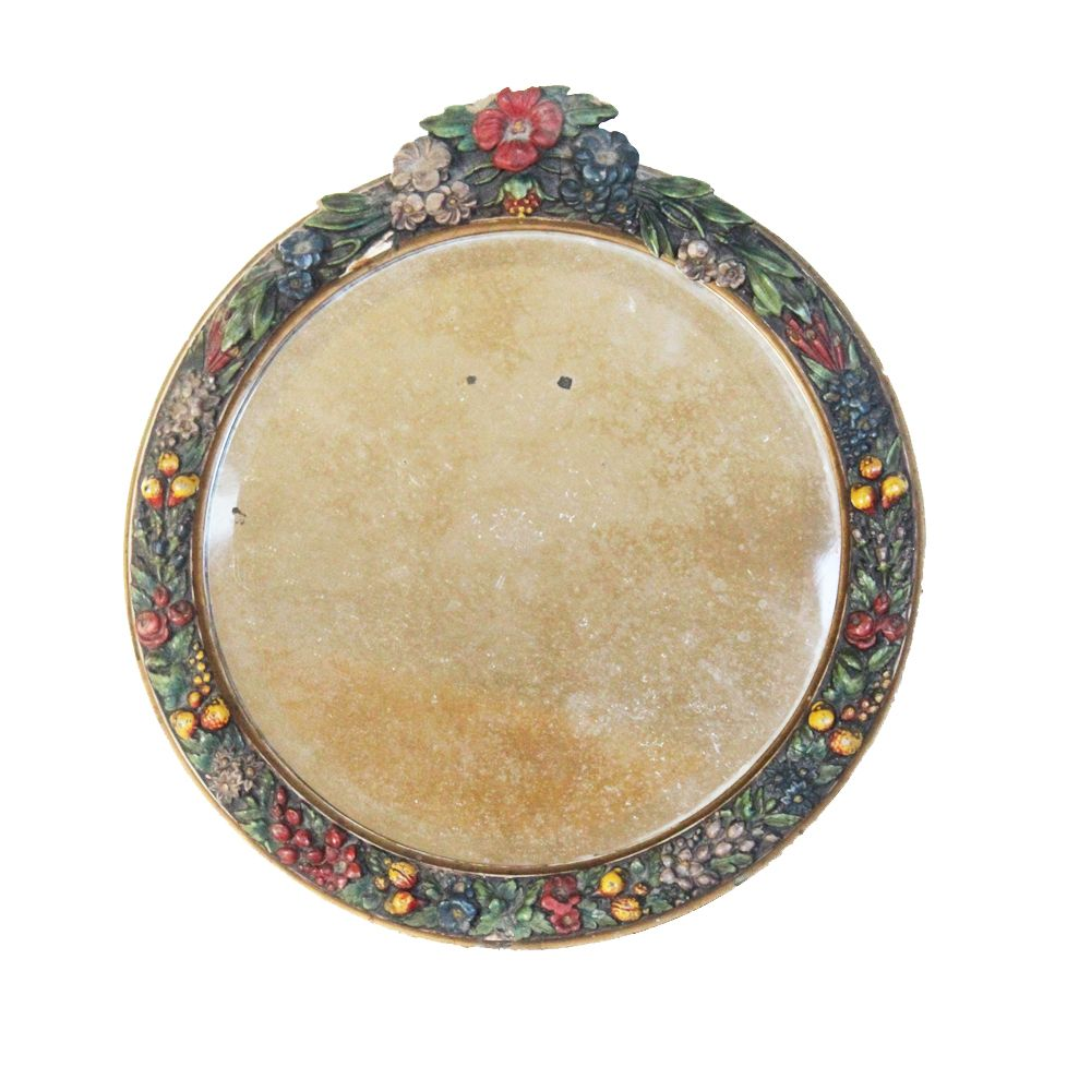 $265.00 Antique English Barbola Round Beveled Mirror-