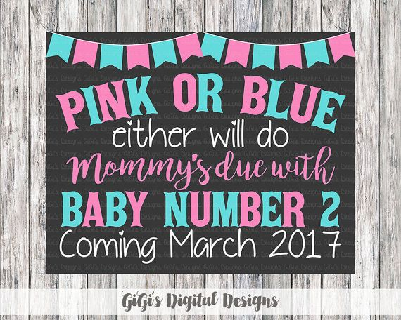 PINK OR BLUE Either will do - Mommy's Due with Baby Number 2 - Custom Pregnancy Announcement #custompregnancyannouncement #pregnancyannouncement #etsy #etsyshop #etsyseller #chalkboardsign #customchalkboard