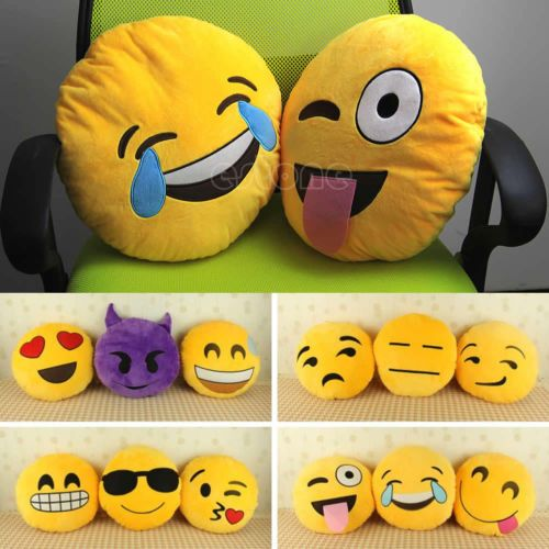 Soft Emoji Smiley Emoticon Yellow Round Cushion Pillow Stuffed Plush Toy Doll Emoji Pillows Pillows Bed Pillows Decorative