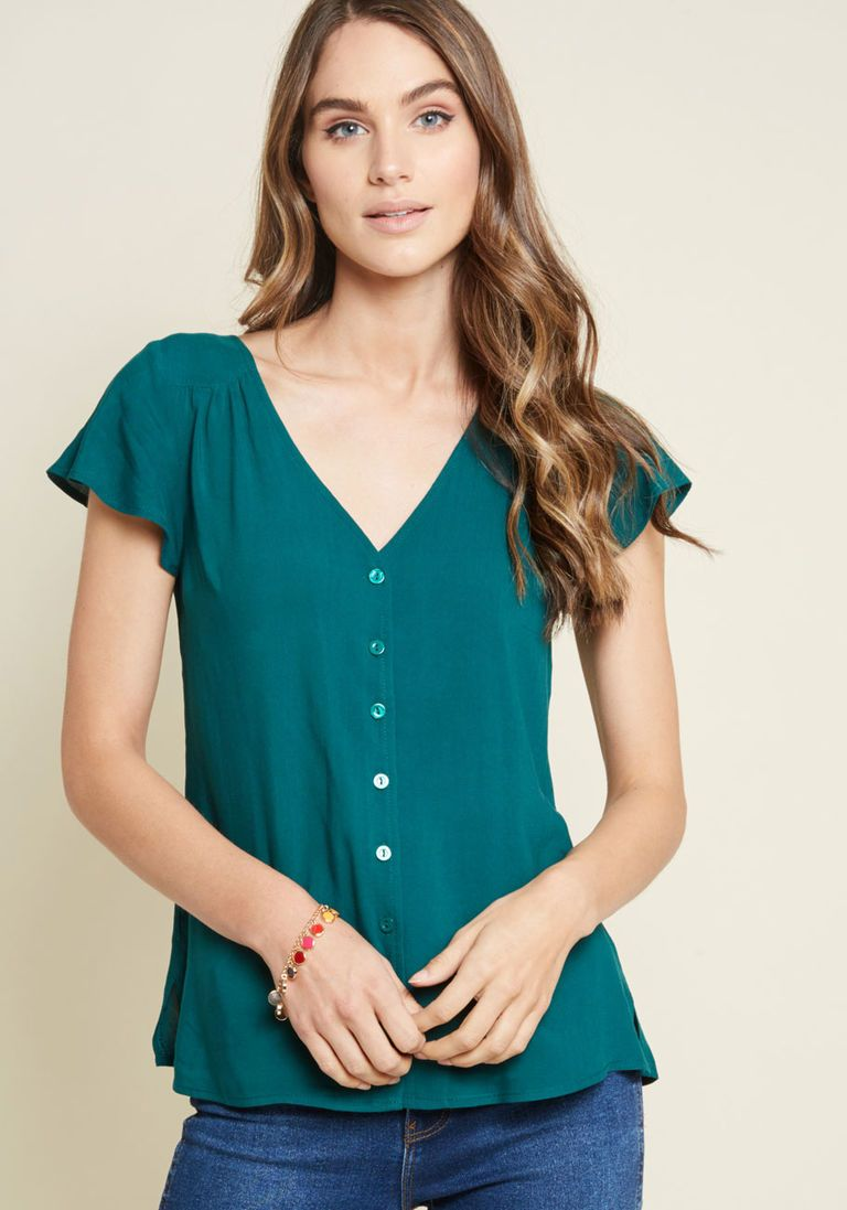 7d2cdfed19e Motivating Ways Button-Up Top in Teal in XXS - Short Sleeve Button Down  Waist by ModCloth