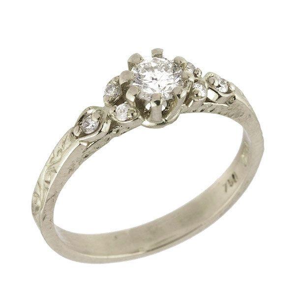 Vintage Art Nouveau Floral Diamond Engagement Ring in 18k White Gold. $1,130.00, via Etsy.
