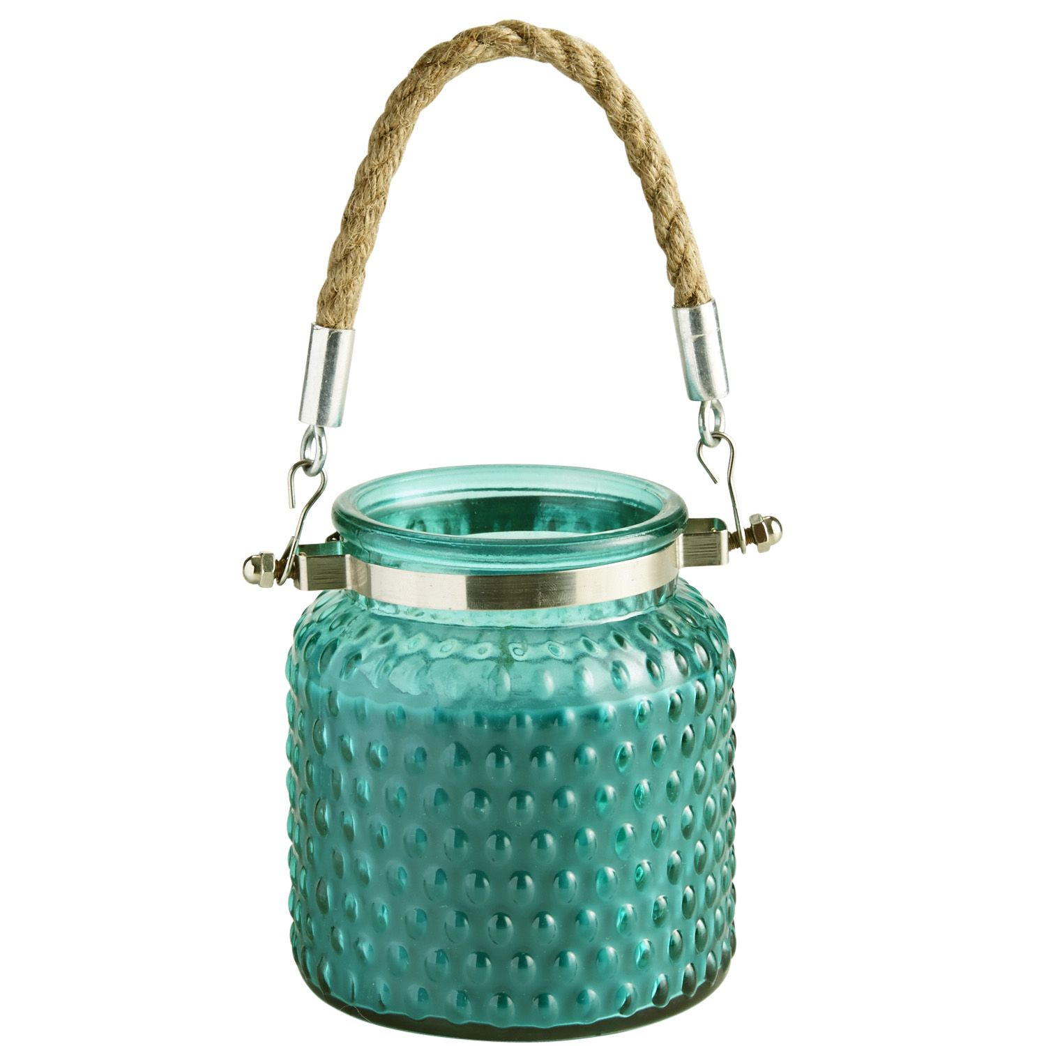 Teal Enchanted Paradise Rope Handle Filled Candle - Glass