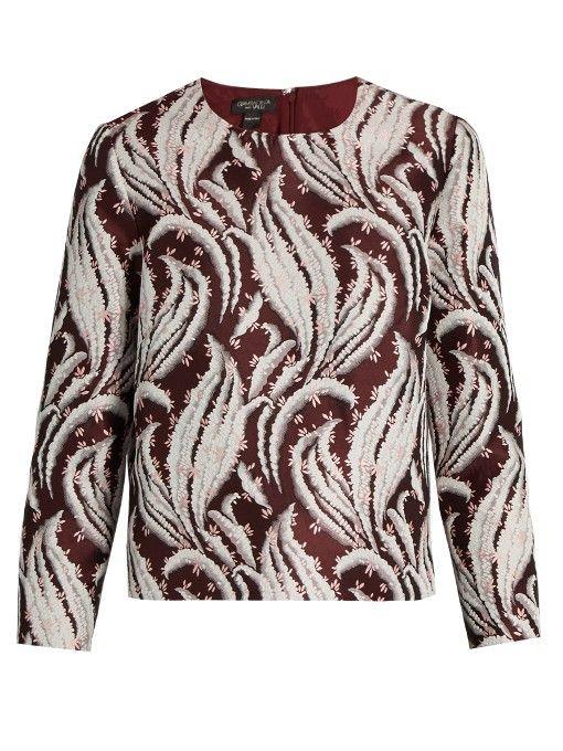 GIAMBATTISTA VALLI Leaf-Jacquard Round-Neck Top. #giambattistavalli #cloth #top
