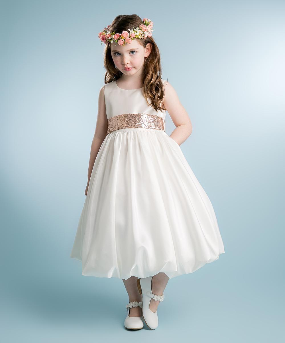 Petite Adele White & Blush Sequin Bubble Dress #zulilyfinds | Girls ...