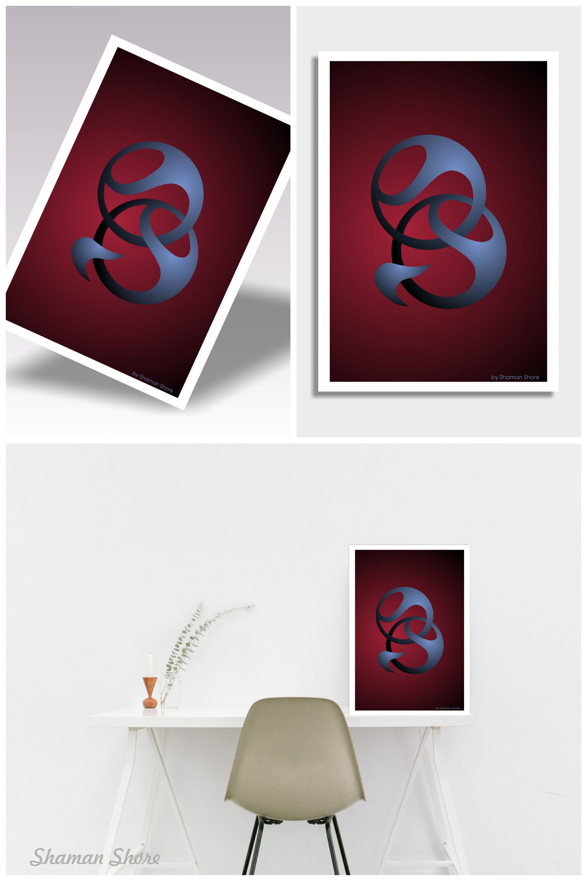 Wall Art Abstract Red, Modern Wall Art Red And Blue