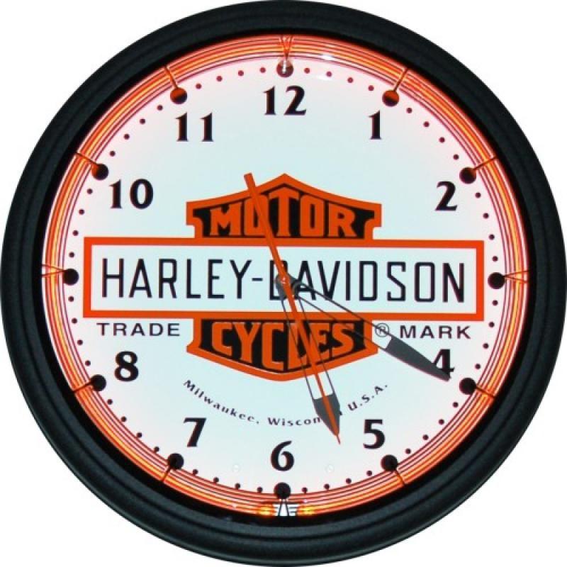 Horloge lumineuse n on harley davidson bar and shield horloge fabriqu e la main aux usa et for Horloge lumineuse