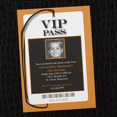 all access vip pass  photo birthday invitation  bright white, party invitations