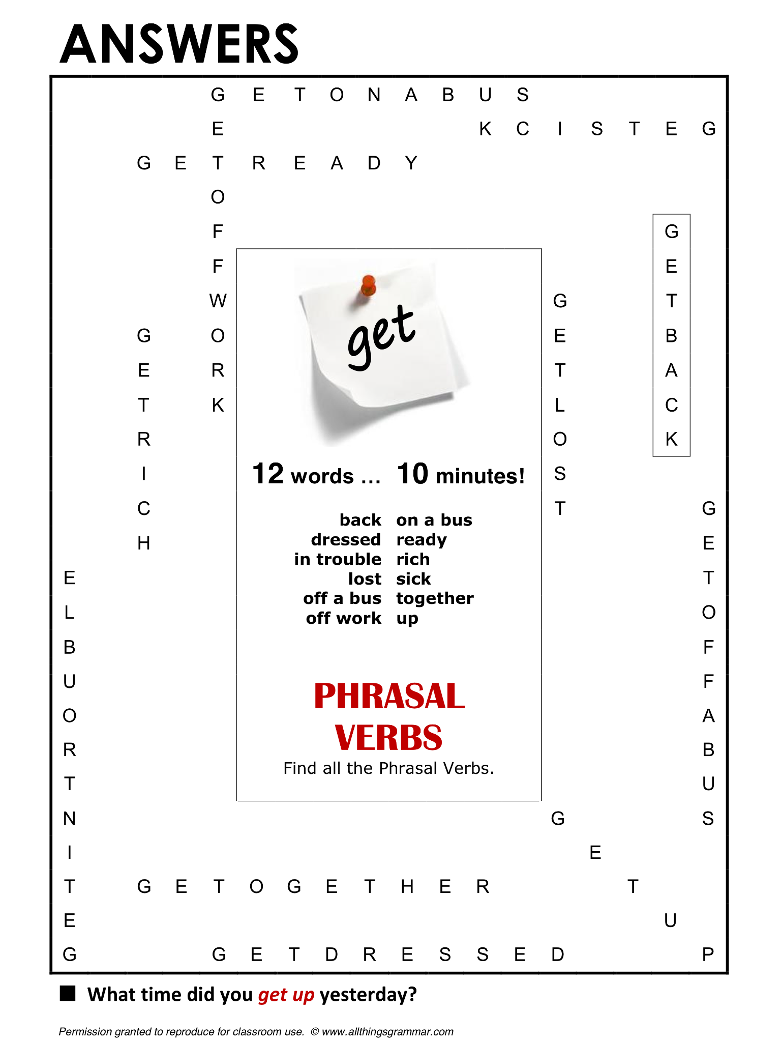 English Grammar Phrasal Verbs With Get