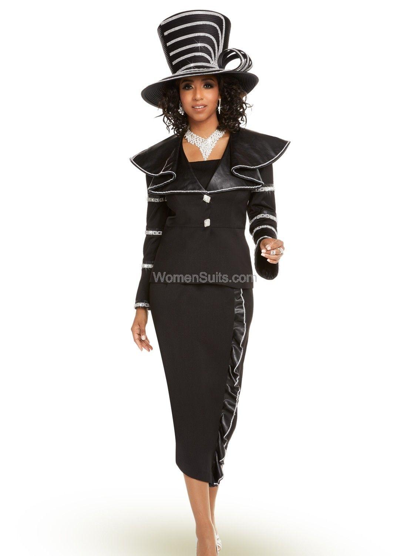 f4fb0e1799c Donna Vinci 2 Pc. Jacket   Skirt Set 11671 BLACK