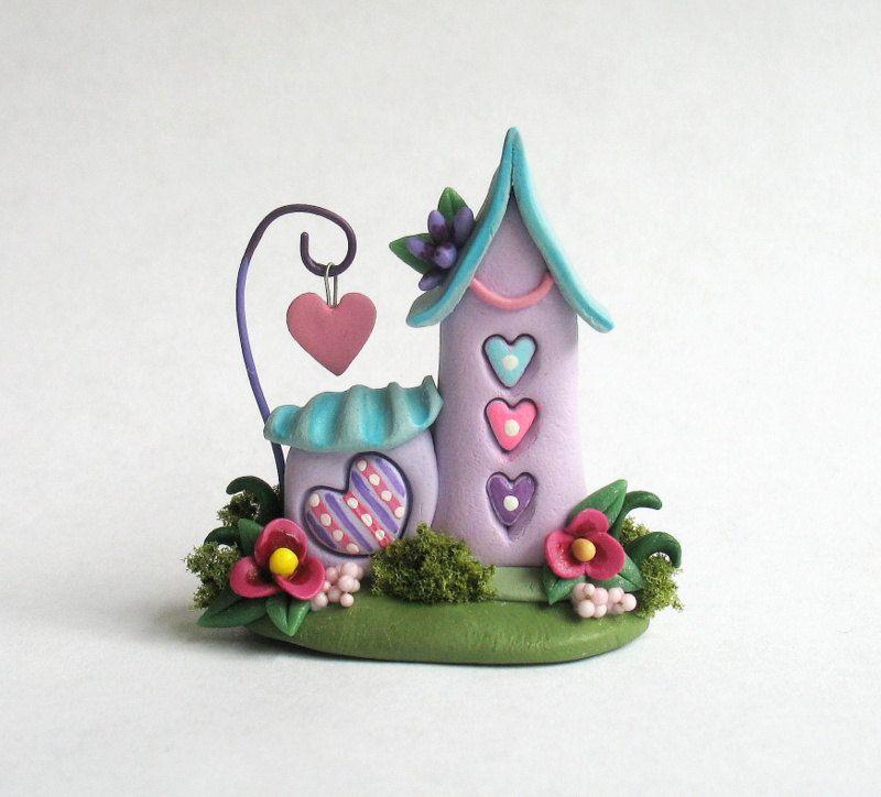 Miniature  Fairy Whimsy House on LOVE Heart Trio por ArtisticSpirit, $48,00