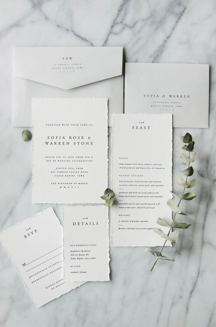 Letterpress ivory and grey classic wedding invitation suite ...