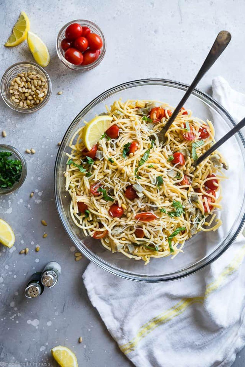 Vegan Gluten Free Pasta Salad with Artichokes and Lemon