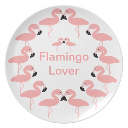 Flamingo Lover Decorative Plate. Perfect gift for any flamingo lover. Customizable with any text of your choice. Design © www.justbyjulie.com