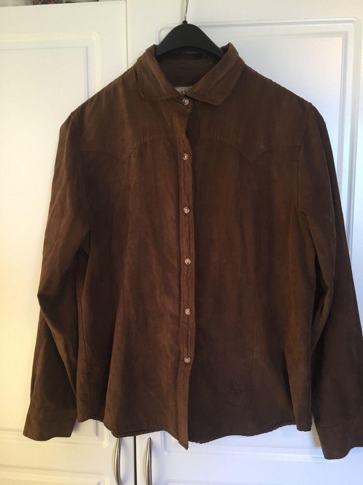 2c29dfc6 Western Bit & Bridle Shirt Women's LARGE Long Sleeve Soft Brown Polyester  #BitBridle #Western
