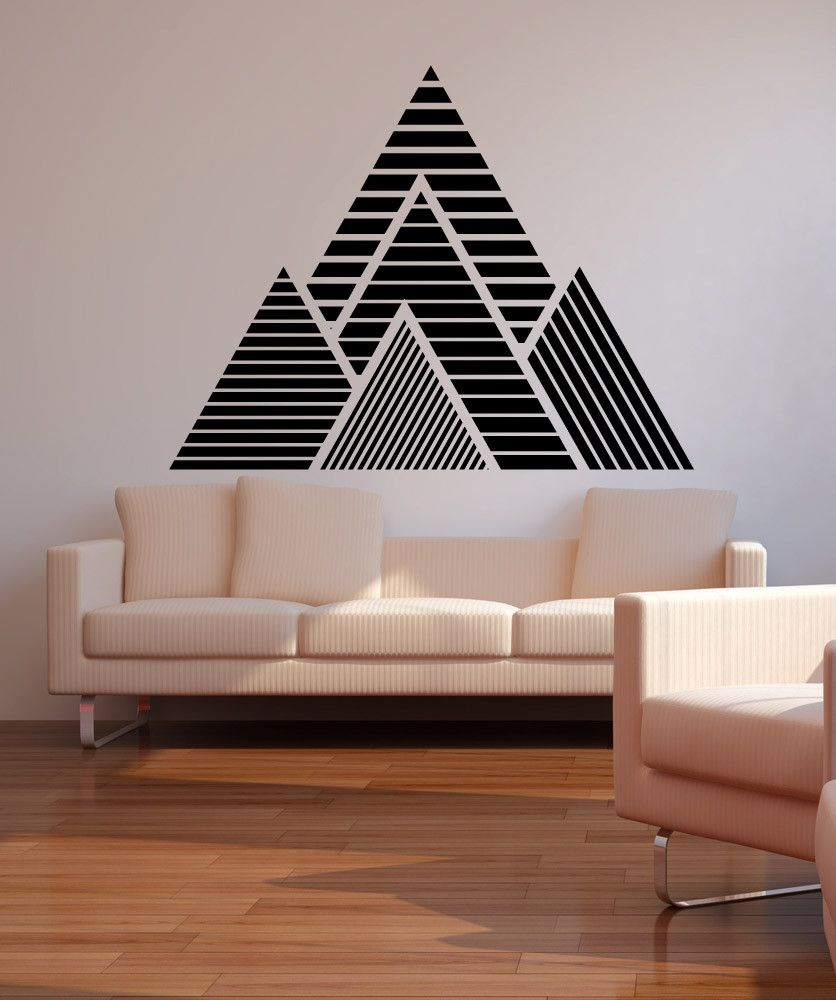 geometric mountains vinyl wall decal sticker os mb1247 pinterest wandgestaltung w nde und. Black Bedroom Furniture Sets. Home Design Ideas