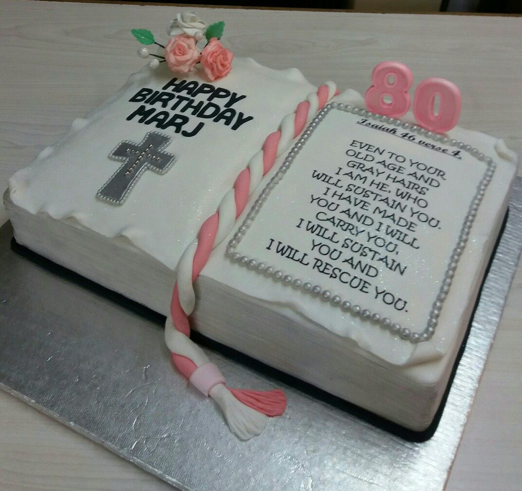 Pink 80th Birthday Bible Cake Made By Colleen De Wet