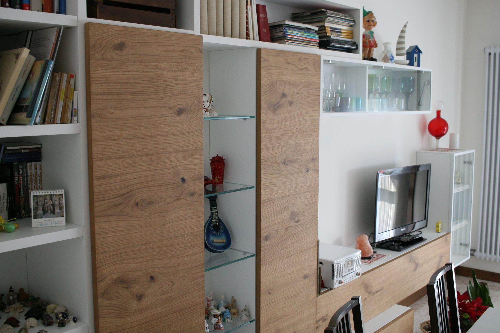 Mensole In Vetro Bianco.Mobile Soggiorno Gianser Orizzonte Aliante Legno Laccato