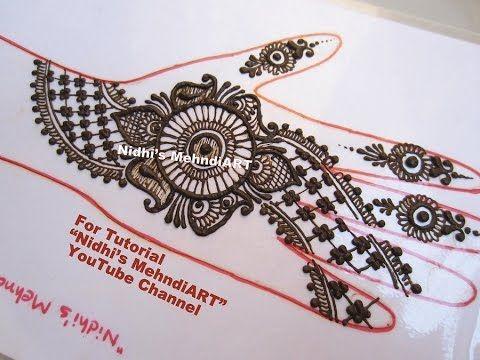 Front Hand Henna Mehndi Design : Freehand arabic front hand strip henna mehndi design tutorial