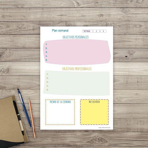 Planificador semanal. Organizador agenda imprimible. #planificador ...