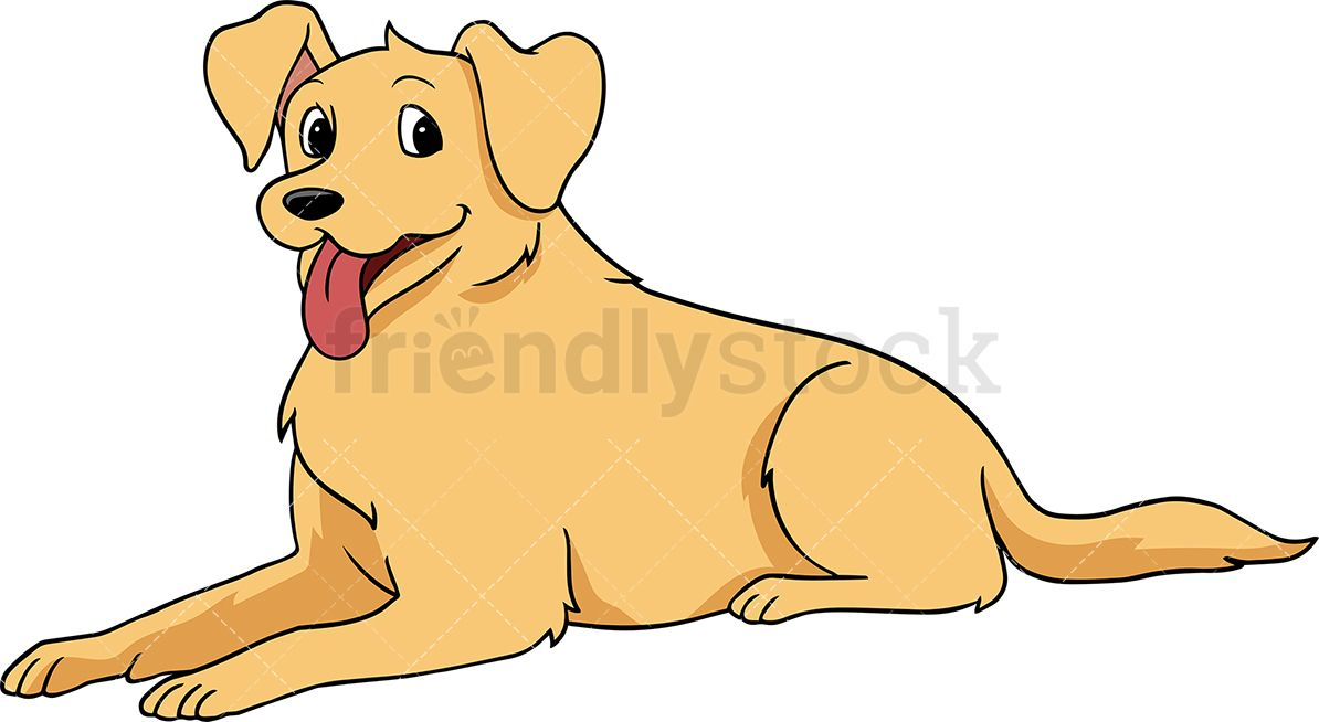 Golden Retriever Dog Lying Down Dogs Golden Retriever Cartoon