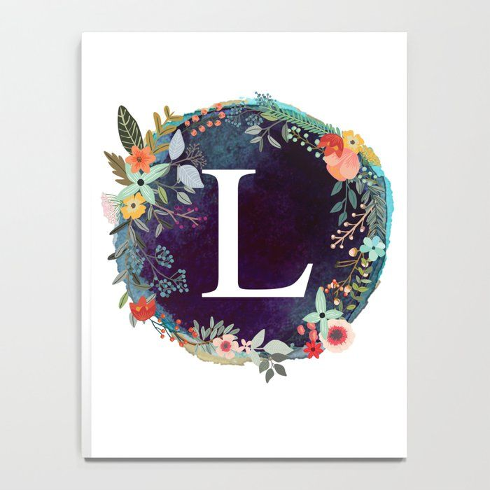 """Photo of Personalized Monogram Initial Letter L Floral Wreath Artwork Notebook Lined by ABA2Life – 6 """"x 8"""""""