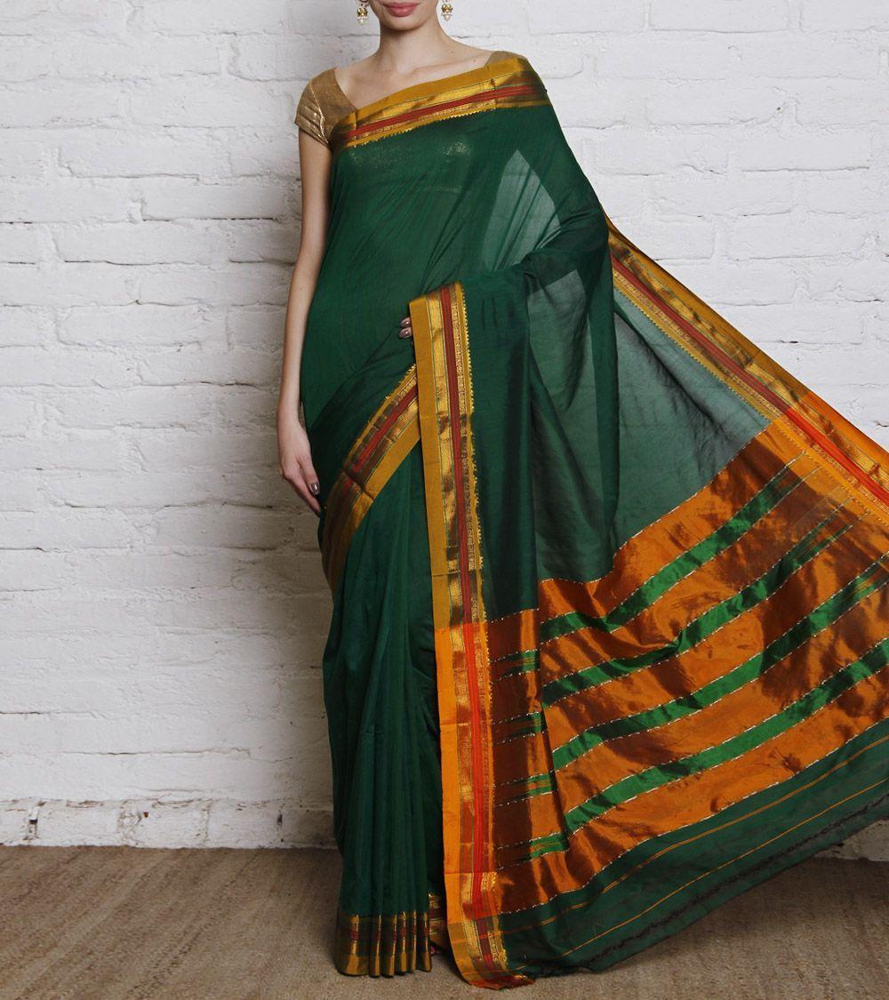51ecef314b3c6f Green Ilkal Cotton Silk Saree | Ethnic Fashion | Saree, Silk sarees ...