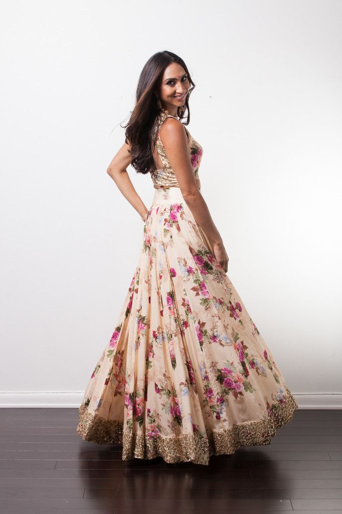42b3b1bb9f6c2 SIMI Floral Crop Top and Lehenga. Indian fashion.
