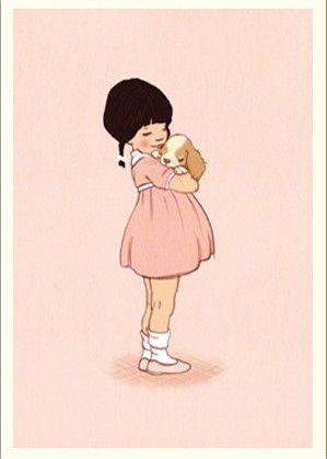 Belle & Boo postcard - Puppy Love