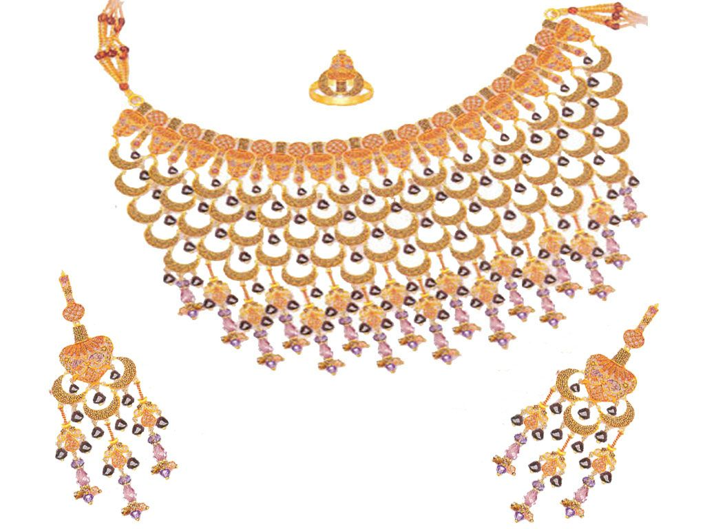 Gold Necklaces Designs in Dubai | Costume Gem Gold Jewelry Stone ...