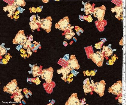 American Old Story Puppies, Trefle by Kokka Japanese Import Fabric